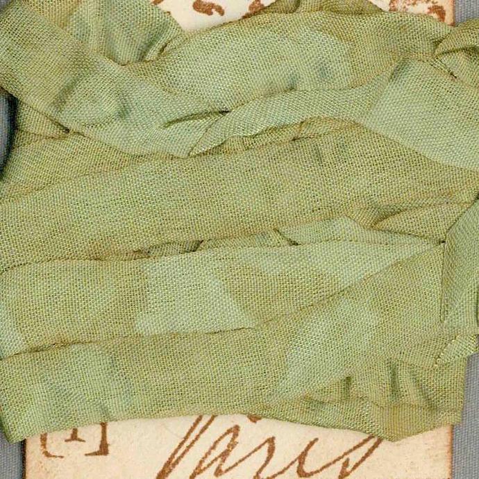 seam binding 5 yards tea dyed green vintage Paris tag trim ribbon French chic