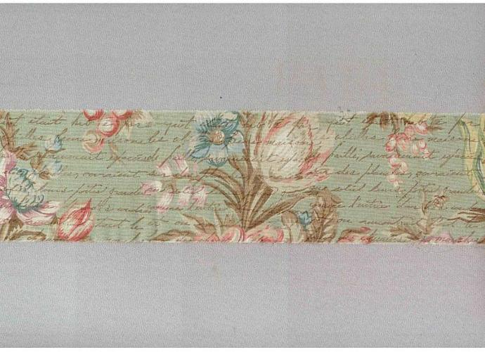 "sage green VINTAGE FRENCH SCRIPT 3"" chic muslin ribbon handmade trim  item 574"