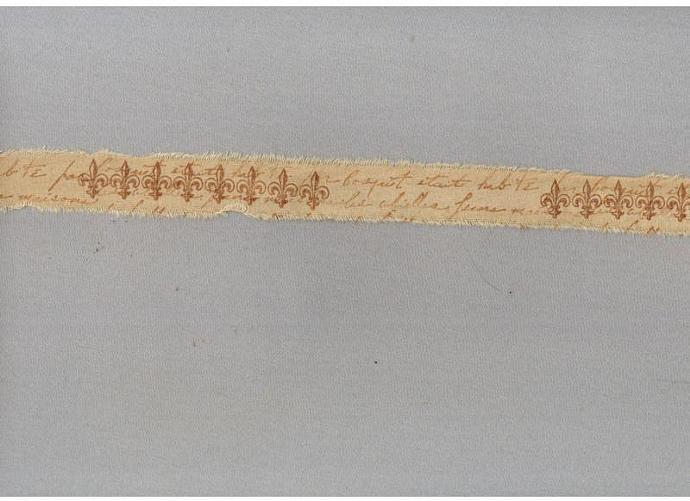 "FLUER DE LIS vintage french script tea dyed shabby hand stamped Muslin 1"" c789"