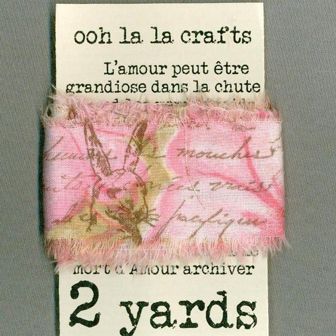 easter rabbit pink gift wrap shabby french chic trim vintage stamped Muslin c694