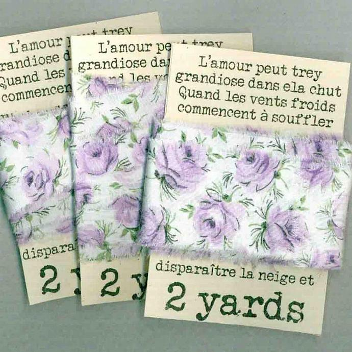6 yards sweet vintage fabric handmade ribbon  lavender roses so shabby chic