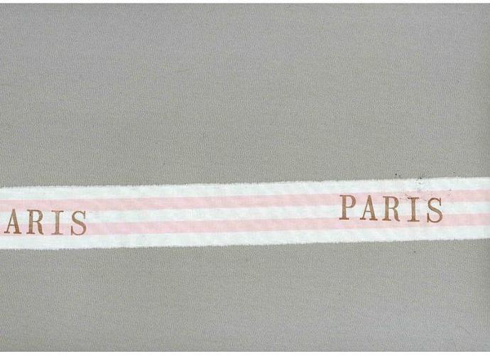 vintage paris apt pInk  rubber stamped gift trim Muslin ribbon handmade   c458