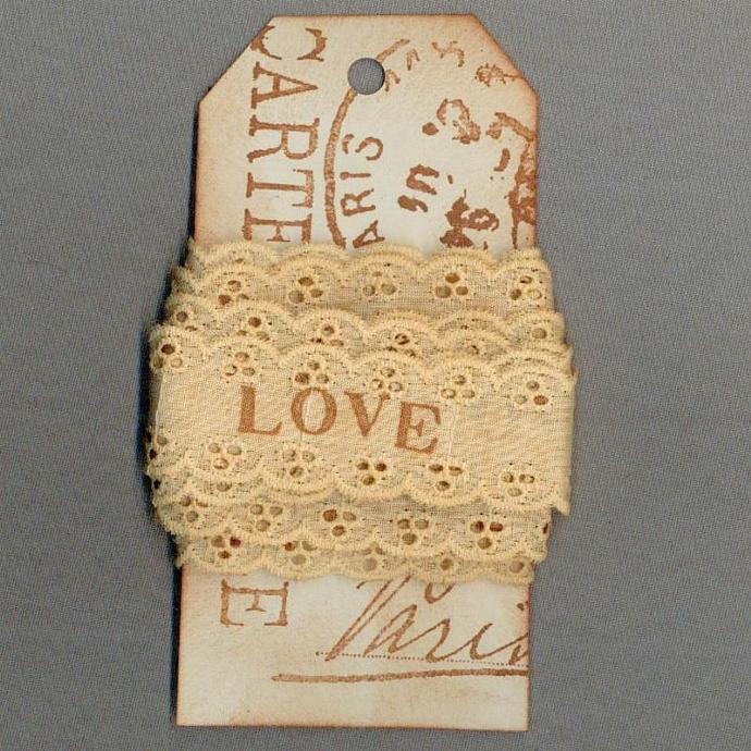 LOVE eyelet doll ribbon vintage paris tag tea dyed hand stamped craft  r770