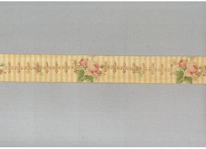 Fleur des Lis french chic cottage tea dyed floral hand made stamped ribbon
