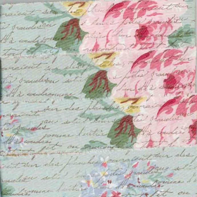 pink  roses on blue ,muslin  hand made, handmade floral rubber stamped french