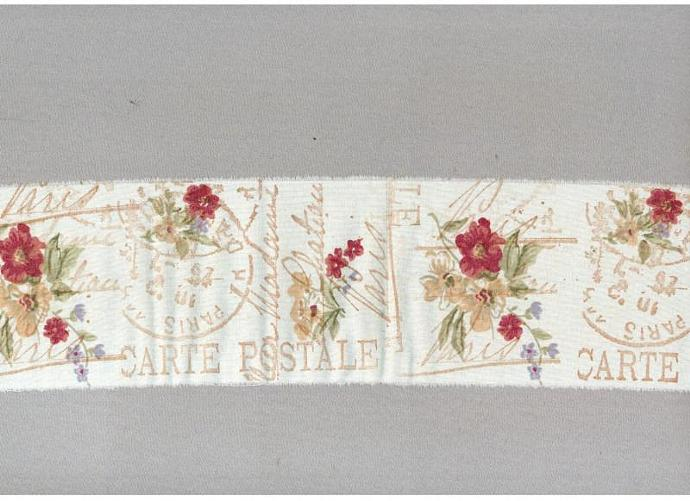 french carte postal floral ribbon hand stamped trim craft Muslin dark pink
