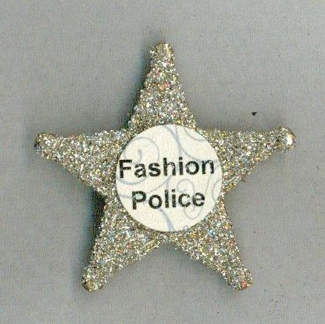 fun fashion police badge pin silver glass glitter brooch (item 323