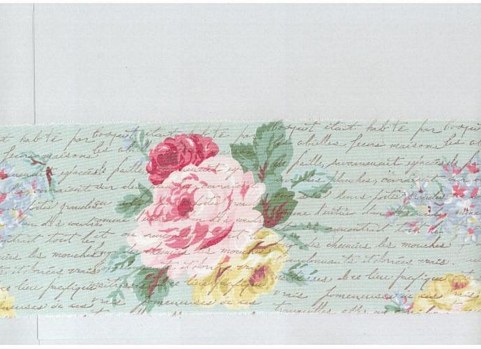 """muslin 4.5"""" wide ribbon floral vintage french script chic hand made stamped"""