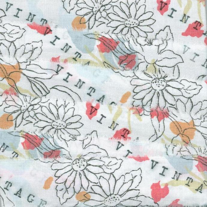 RETRO VINTAGE 1950s soft  muslin hand rubber stamped black white floral (item