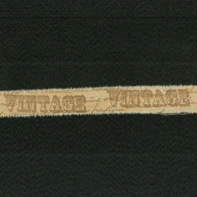 "VINTAGE , worn ,hand made tea dyed muslin rubber stamped ribbon 1""wide (item 17"