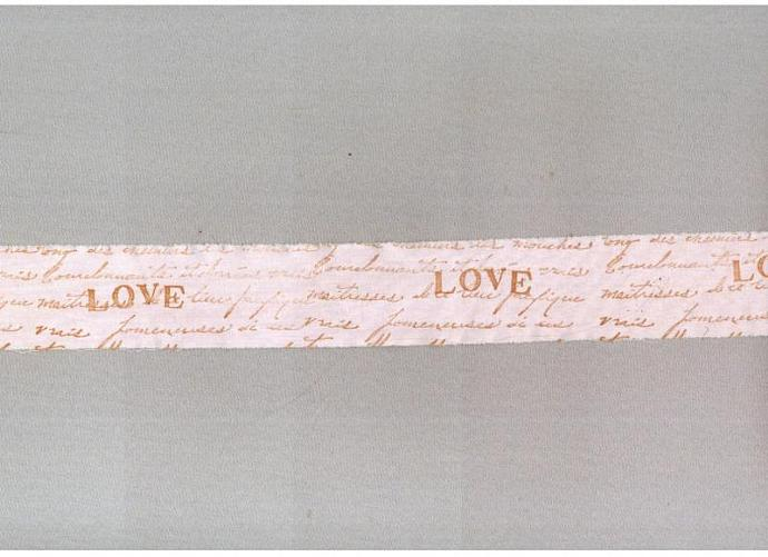 pink LOVE  trim shabby vintage shabby french script chic hand stamped c801