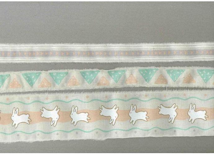 6 yards Easter bunny peach sea foam scrapbook favor hand torn ribbon Muslin