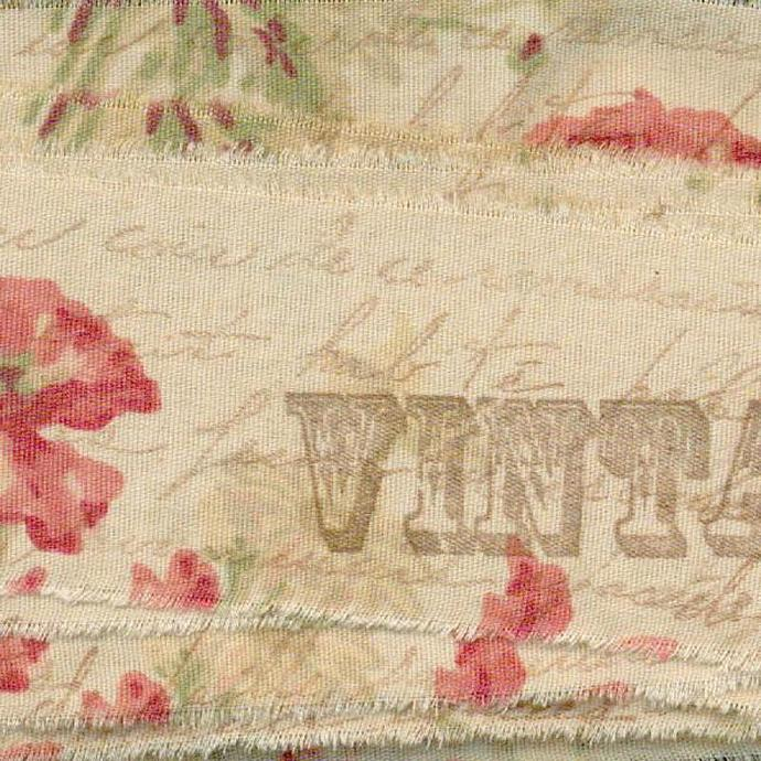 cheerful poppys muslin rubber stamped french script handmade tea dyed ribbon 1.5