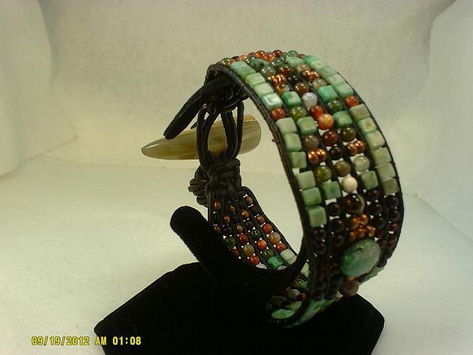 Black Leather Wrap Bracelet-Item #0170