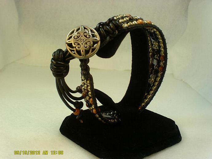 Black Leather Wrap Bracelet-Item #0171