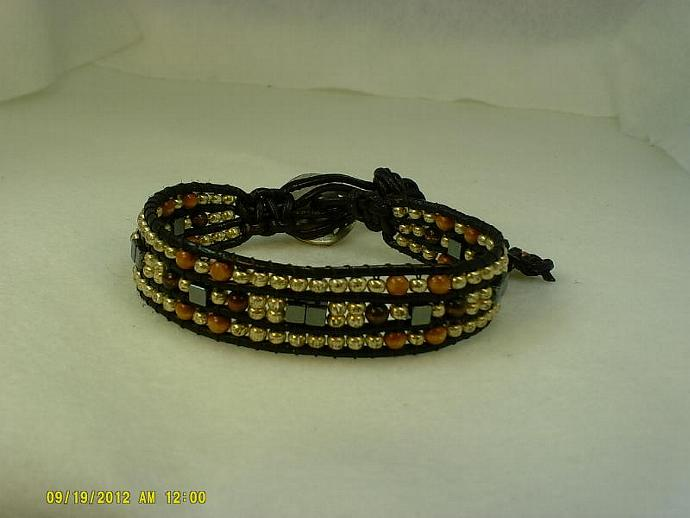 Black Leather Wrap Bracelet-Item #0171