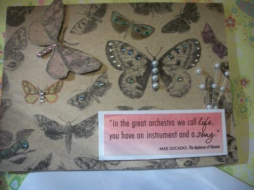 Beautiful Handmade Rhinestone studded 3d Butterfly card