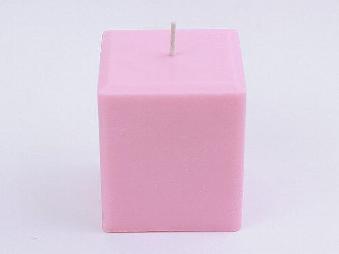 Pink Rose Soy Pillar Candle, Hand Poured, Eco Friendly, Zinc Free, 100% Soy Wax