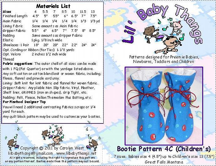 "Terra Verde ""TV"" Bootie Sewing Pattern C, 7 Children's Sizes 4 - 13, PDF"