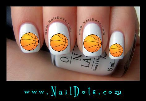 Basketball Nail Art Water Slide Nail Decals - Basketball Nail Art Water Slide Nail Decals By NailDots On Zibbet