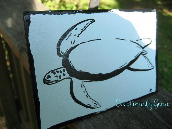 OSWOA Sea Turtle painting 4x6 mini Turtle art