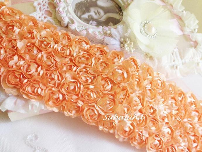 "Bright PEACH Satin Shabby 5 Rows Rosette Trim- 2.75""x 1 yard for Boutique"