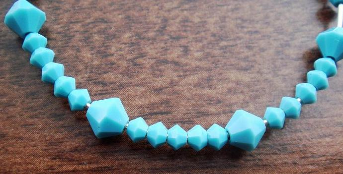 Turquoise Crystal Sterling Hoops