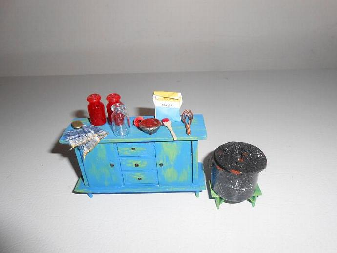 Canning Cherries in One Inch Dollhouse Scale