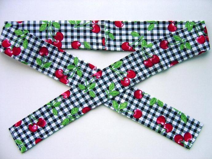 Black and White Plaid with Cherries Neck Cooler, Cool Tie