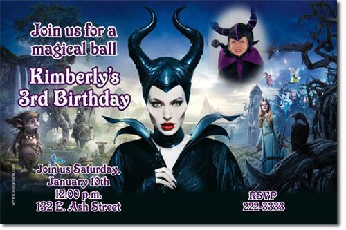 Maleficent Evil Queen Birthday Invitations DOWNLOAD JPG IMMEDIATELY