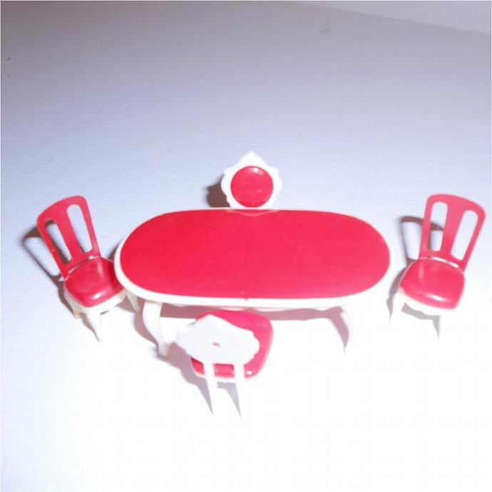 Vintage Red and White Half Scale Dollhouse Dining Set