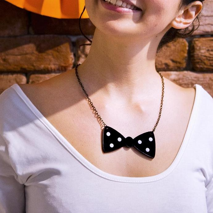 Lasercut Acrylic Bow Necklace,Plexiglass Jewelry,Black and White Bow,Gifts Under
