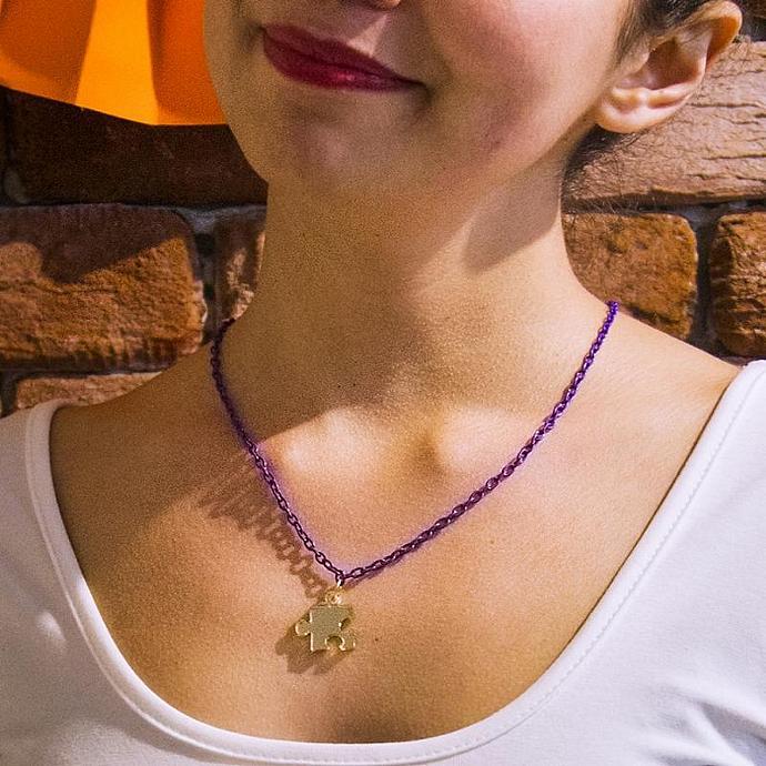 Gold Plexiglass Puzzle Necklace,Plexiglass Jewelry,Geek Necklace,Gifts Under 25