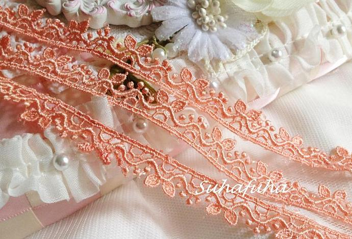 """3 yards Dark PEACH Venise Lace Cute Leaves 1/2"""" inch for scrapbooking, crafts,"""