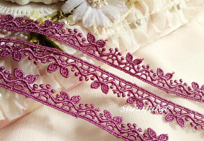 "3 yards ORCHID PURPLE Venise Lace Cute Leaves 1/2"" inch for scrapbooking,"