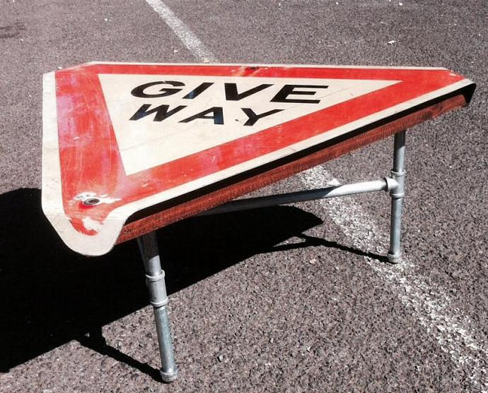 Industrial Road Sign Coffee Table Give Projectsupcycled - Road sign furniture