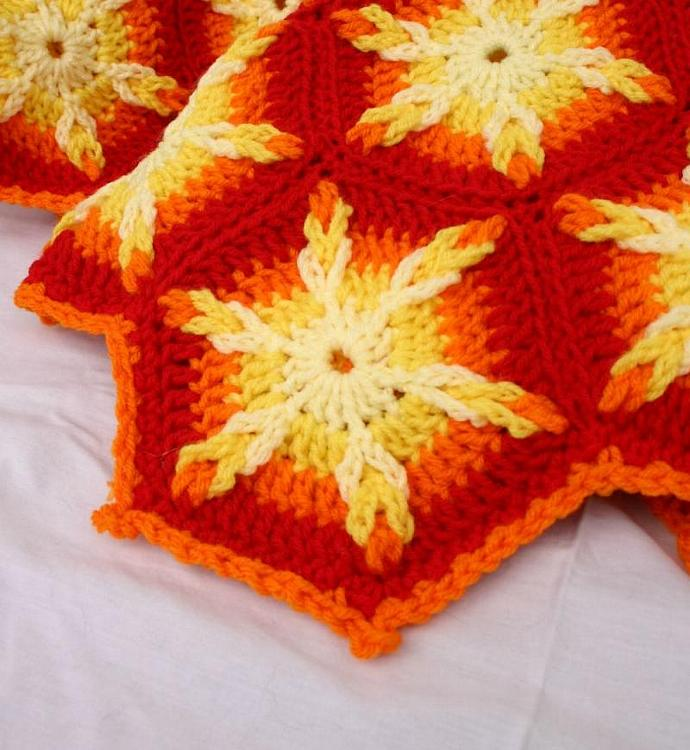 Crochet afghan PDF pattern looped hexagons granny square throw blanket snowflake