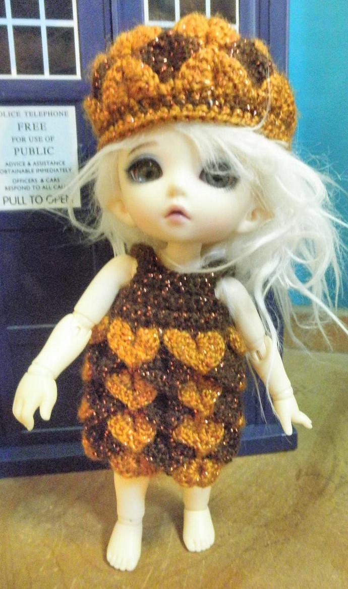 bronze  and copper color Pukifee scaled petal dress