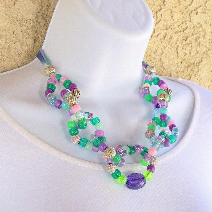 Necklace, bead links in green and purple with adjustable ribbon tie