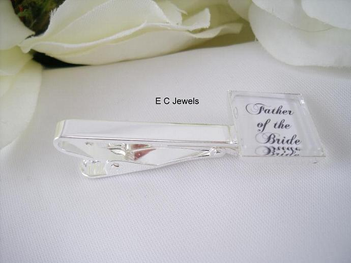 Set of 2 - Father of the Bride and Groom Tie Clip/Bar