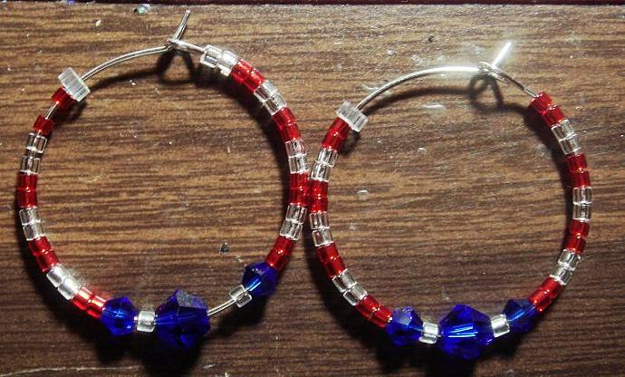 Red, White & Blue Hoop Earrings