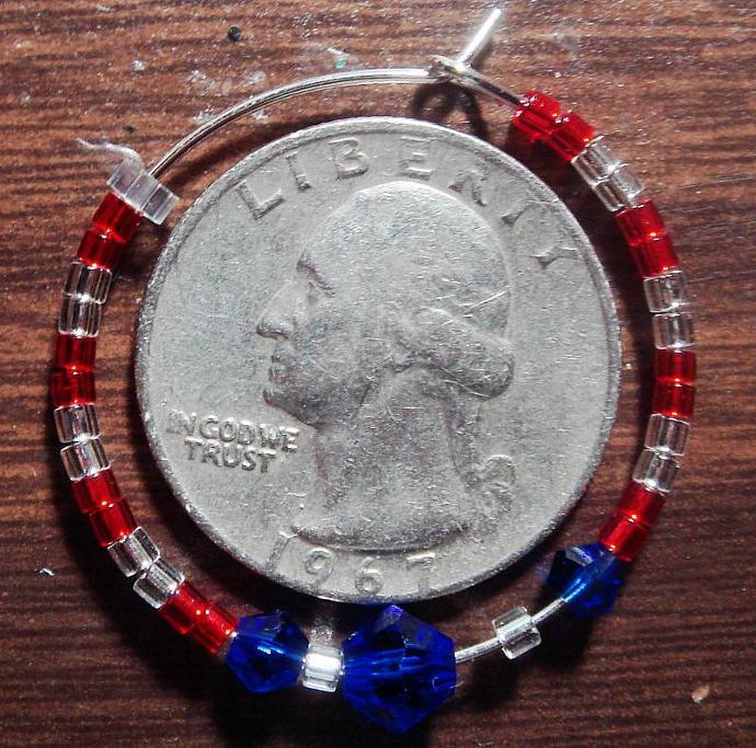 Red, White & Blue Hoop Earrings