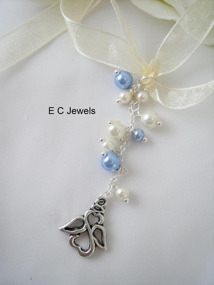 Angel Pearl Drop Bouquet Charm - Something Blue