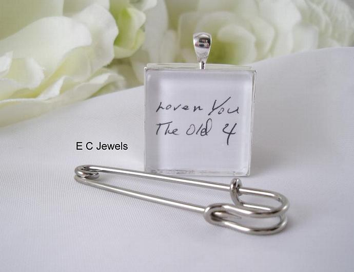 Grooms Boutonniere Custom Handwriting, Double Sided Charm