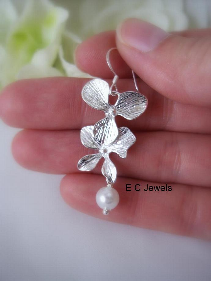 Double Orchid and Pearls Earrings
