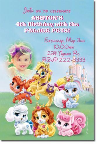 Palace Pets Birthday Invitations DOWNLOAD JPG IMMEDIATELY