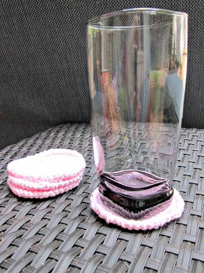 Set of 4 Pink Sparkly Coasters