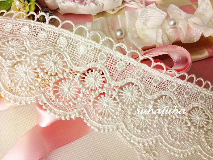 "Lt. Ivory Vintage Inspired Victorian Venise Lace Trim 1 yd x 2 "" wide"