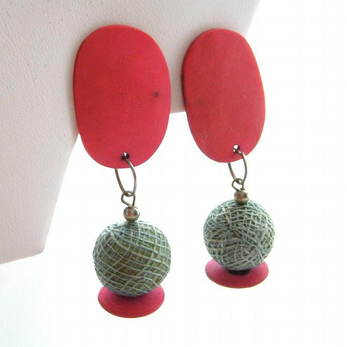 Vintage Clip Wood Earrings Color Block Coral Green Large Dangle