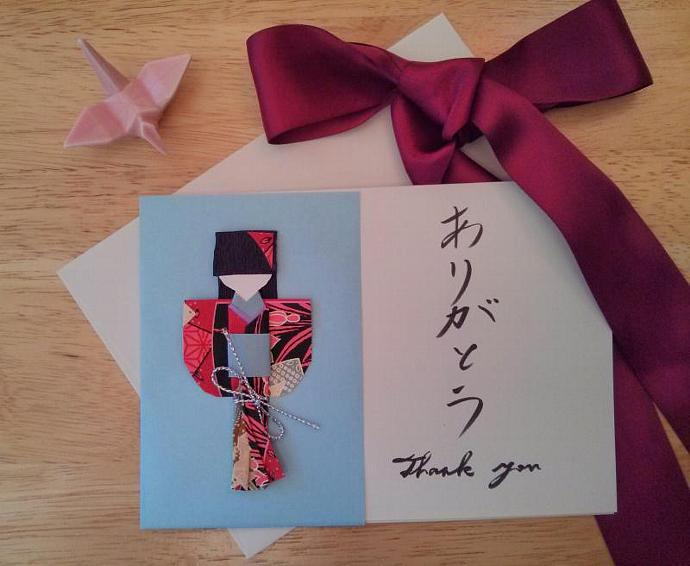Give the gift of gratitude. Handwritten Japanese Thank you card with detachable gift of Japanese paper doll